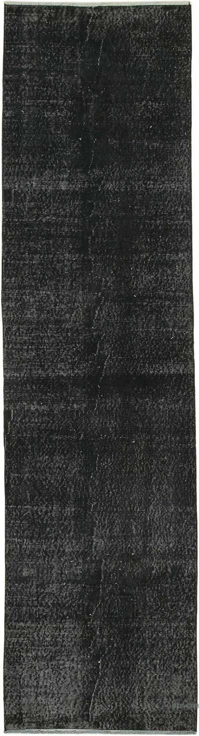 """Black Over-dyed Turkish Vintage Runner Rug - 2' 8"""" x 10'  (32 in. x 120 in.)"""