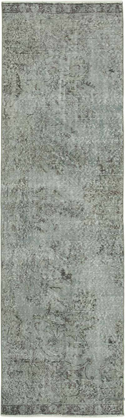"""Grey Over-dyed Turkish Vintage Runner Rug - 2' 11"""" x 9' 11"""" (35 in. x 119 in.)"""