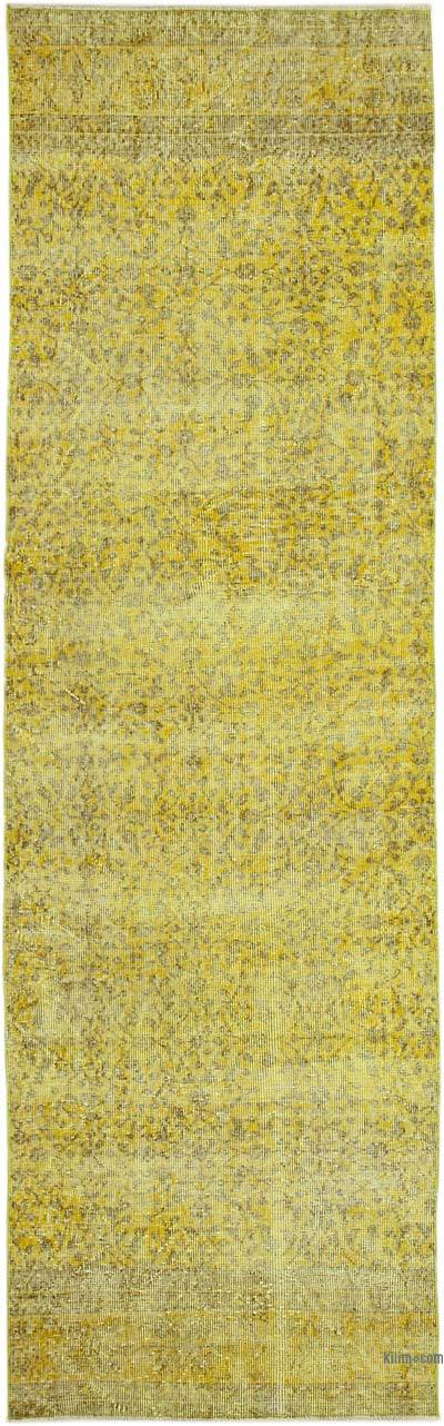 """Yellow Over-dyed Turkish Vintage Runner Rug - 3'  x 9' 11"""" (36 in. x 119 in.)"""