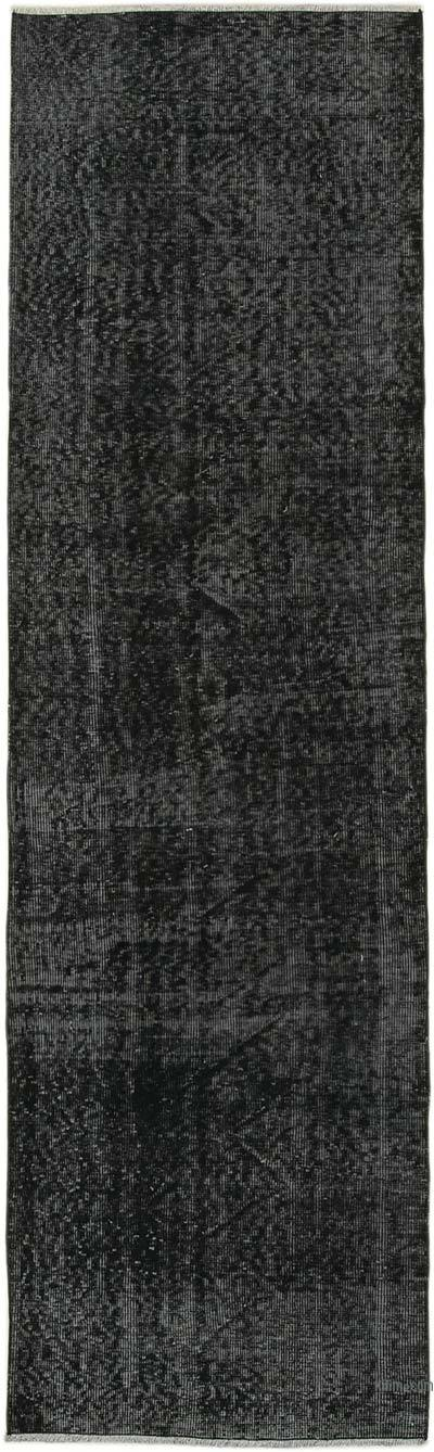 """Black Over-dyed Turkish Vintage Runner Rug - 2' 8"""" x 9' 1"""" (32 in. x 109 in.)"""
