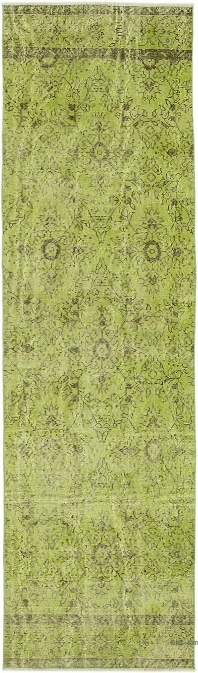 """Green Over-dyed Turkish Vintage Runner Rug - 2' 8"""" x 9' 2"""" (32 in. x 110 in.)"""