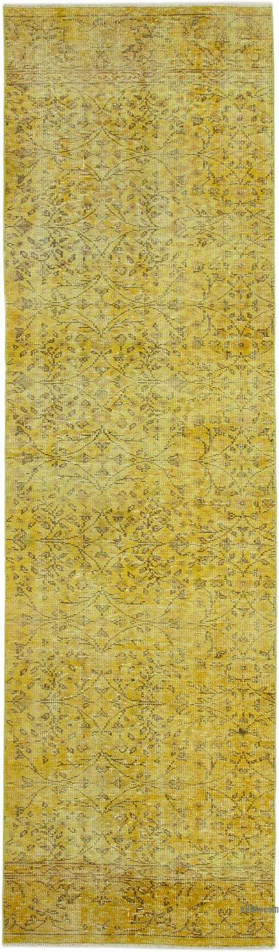 "Yellow Over-dyed Turkish Vintage Runner Rug - 3'  x 10' 4"" (36 in. x 124 in.)"