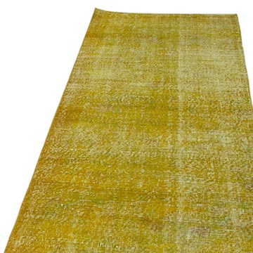 """Yellow Over-dyed Turkish Vintage Runner Rug - 2' 11"""" x 9' 9"""" (35 in. x 117 in.) - K0052226"""