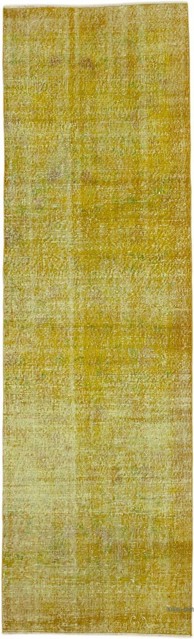 """Yellow Over-dyed Turkish Vintage Runner Rug - 2' 11"""" x 9' 9"""" (35 in. x 117 in.)"""