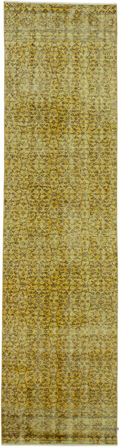 """Yellow Over-dyed Turkish Vintage Runner Rug - 2' 7"""" x 10' 2"""" (31 in. x 122 in.)"""