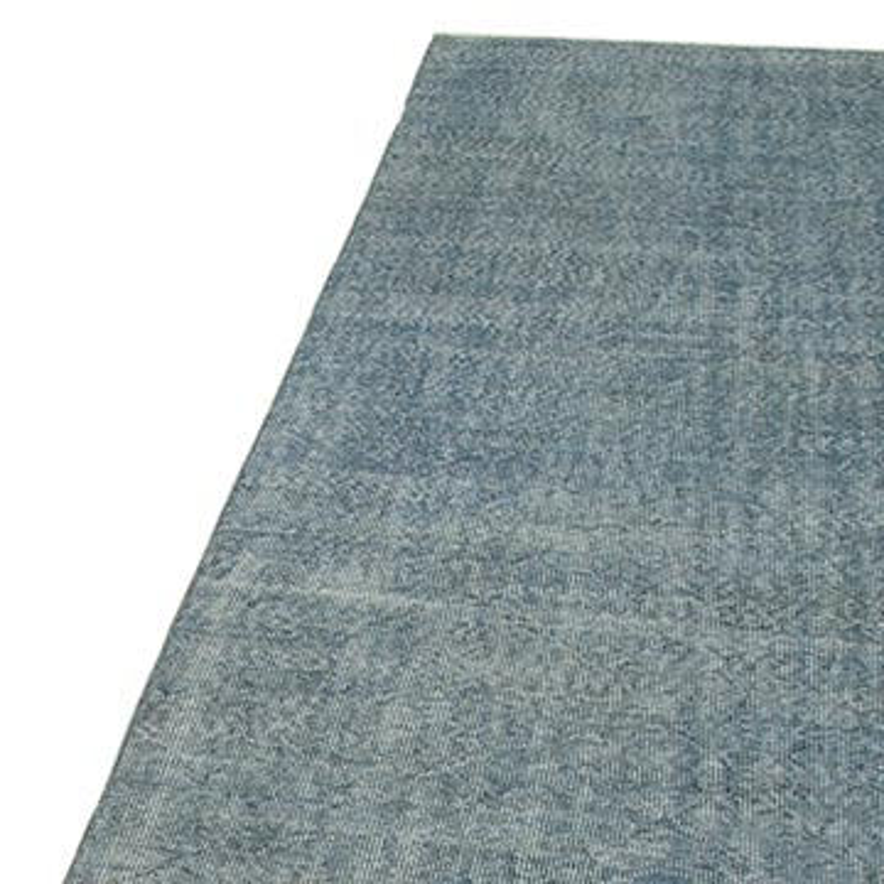 Blue Over-dyed Turkish Vintage Runner Rug - 3'  x 11'  (36 in. x 132 in.) - K0052235
