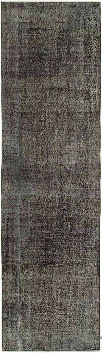 """Black Over-dyed Turkish Vintage Runner Rug - 2' 10"""" x 10' 2"""" (34 in. x 122 in.)"""