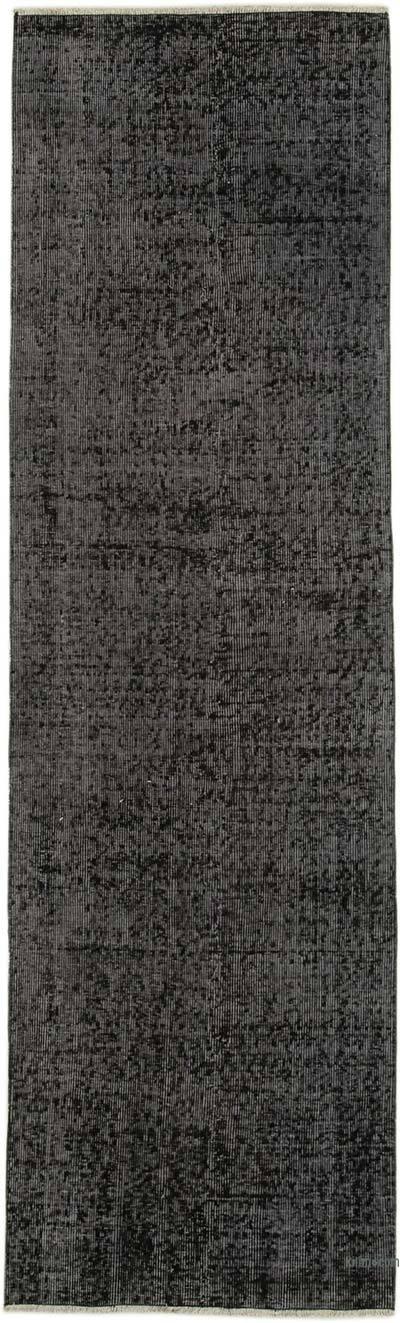 Siyah Boyalı El Dokuma Vintage Halı Yolluk