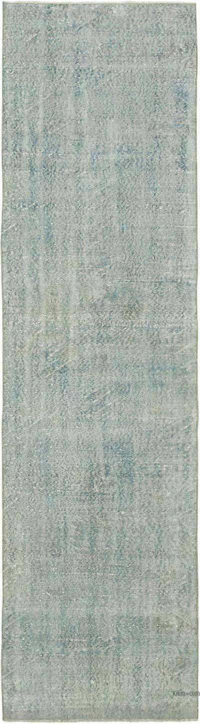 "Blue Over-dyed Turkish Vintage Runner Rug - 2' 11"" x 10' 11"" (35 in. x 131 in.)"