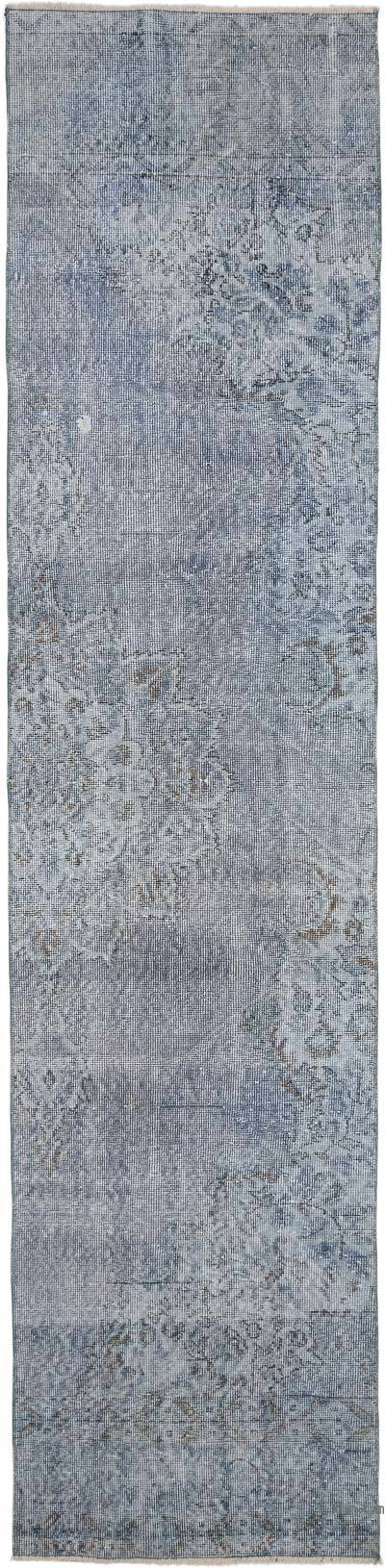 "Blue Over-dyed Turkish Vintage Runner Rug - 2' 8"" x 11'  (32 in. x 132 in.)"