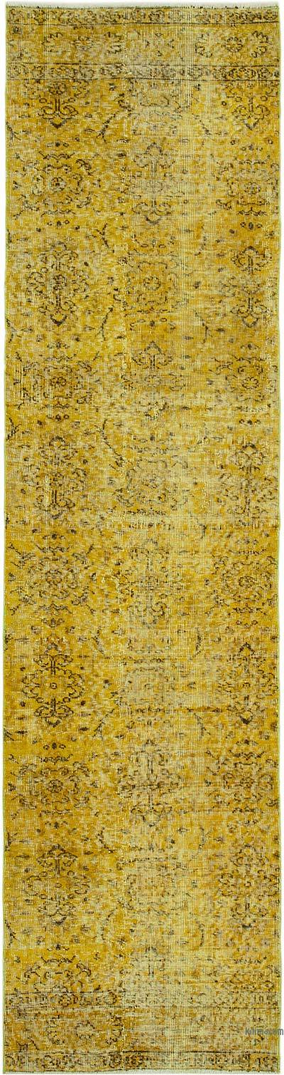 "Yellow Over-dyed Turkish Vintage Runner Rug - 2' 7"" x 10' 1"" (31 in. x 121 in.)"