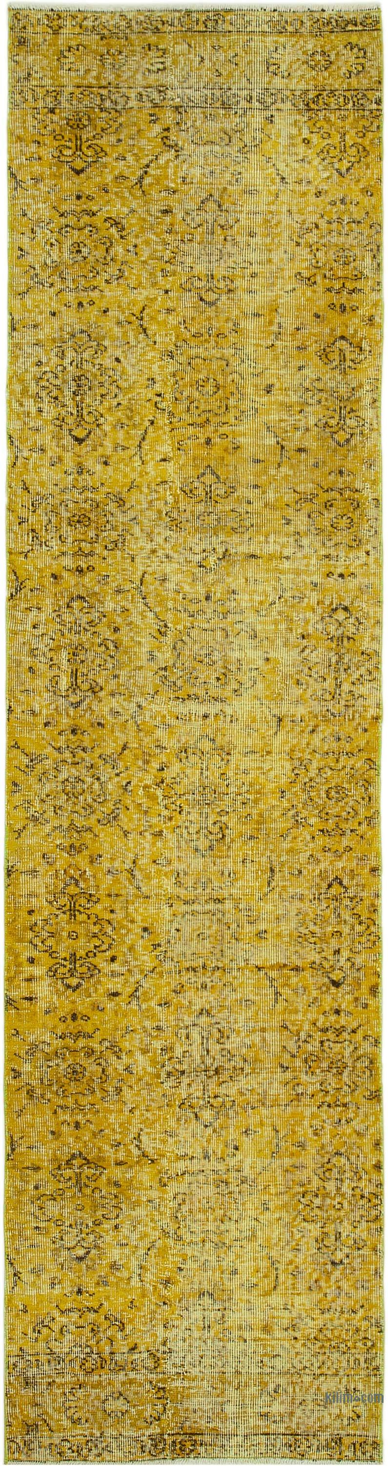 """Yellow Over-dyed Turkish Vintage Runner Rug - 2' 7"""" x 10' 1"""" (31 in. x 121 in.) - K0052262"""