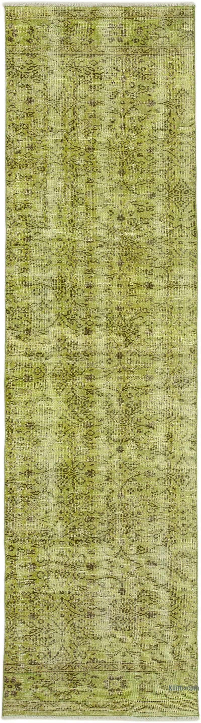 """Green Over-dyed Turkish Vintage Runner Rug - 2' 7"""" x 9' 9"""" (31 in. x 117 in.) - K0052270"""