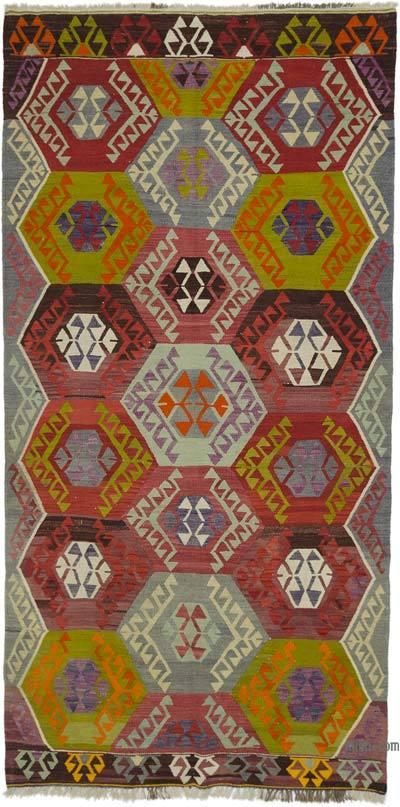 """Multicolor Vintage Antalya Kilim Rug - 5' 2"""" x 10' 4"""" (62 in. x 124 in.)"""