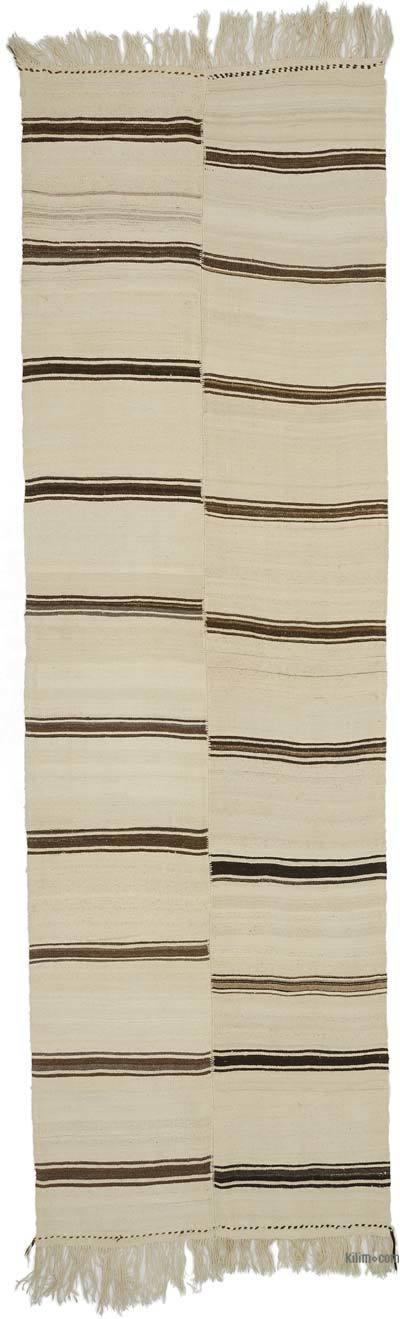 "Beige, Brown Vintage Anatolian Kilim Rug - 4' 2"" x 13' 7"" (50 in. x 163 in.)"