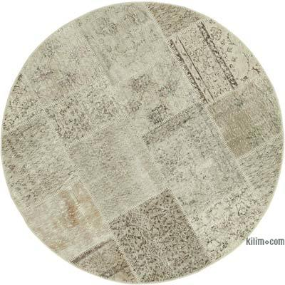 """Patchwork Hand-Knotted Turkish Rug - 4' 11"""" x 4' 11"""" (59 in. x 59 in.)"""