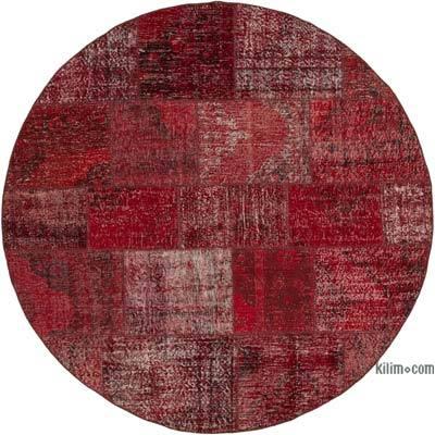 Yuvarlak Boyalı Patchwork Halı - 200 cm x 200 cm