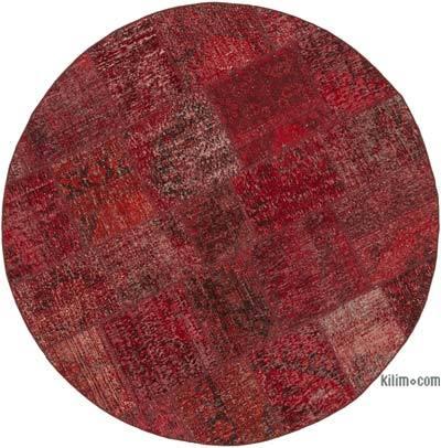 Yuvarlak Boyalı Patchwork Halı - 180 cm x 180 cm