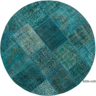 "Patchwork Hand-Knotted Turkish Rug - 5' 11"" x 5' 11"" (71 in. x 71 in.)"