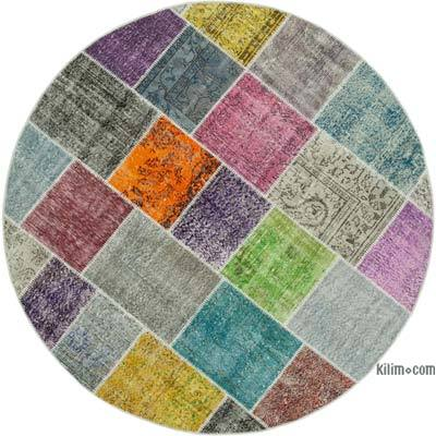 "Multicolor Round Patchwork Hand-Knotted Turkish Rug - 6' 8"" x 6' 8"" (80 in. x 80 in.)"