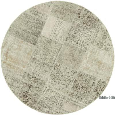 Bej Yuvarlak Boyalı Patchwork Halı - 180 cm x 180 cm