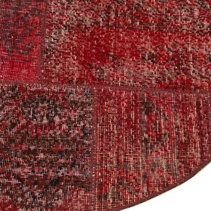 Kırmızı Yuvarlak Boyalı Patchwork Halı - 180 cm x 180 cm - K0052373