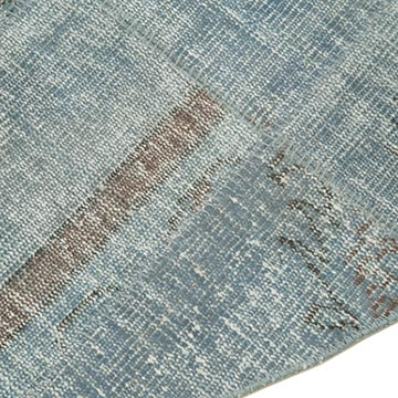 """Blue Round Patchwork Hand-Knotted Turkish Rug - 6' 6"""" x 6' 6"""" (78 in. x 78 in.) - K0052375"""