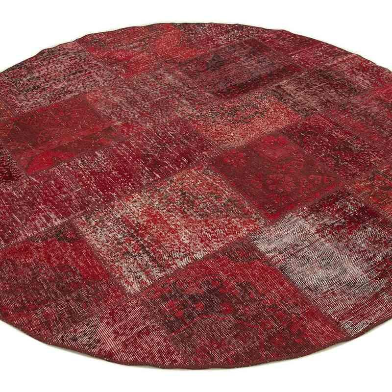 Kırmızı Yuvarlak Boyalı Patchwork Halı - 200 cm x 200 cm - K0052376