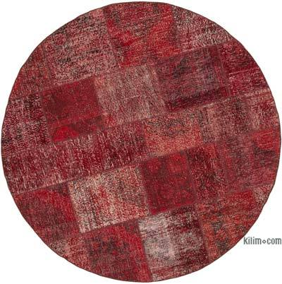 "Red Patchwork Hand-Knotted Turkish Rug - 6' 7"" x 6' 7"" (79 in. x 79 in.)"