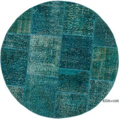 Yuvarlak Boyalı Patchwork Halı - 150 cm x 150 cm