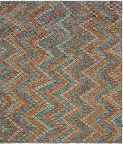 """Multicolor New Afghan Kilim Rug - 6' 8"""" x 7' 7"""" (80 in. x 91 in.)"""