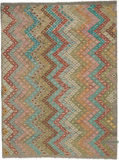 Çok Renkli Yeni Afgan Kilimi - 188 cm x 253 cm