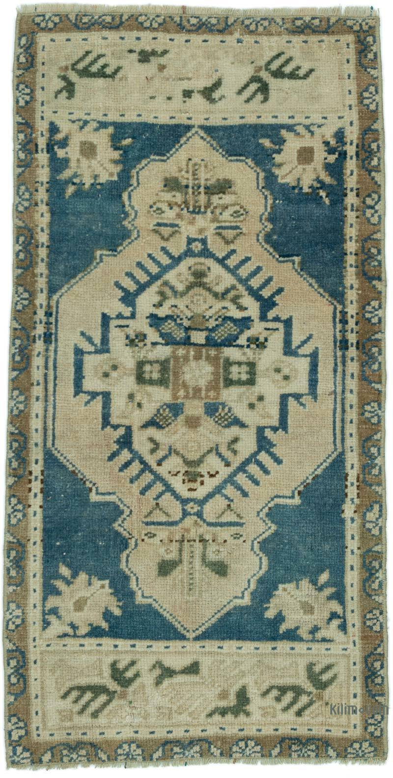 """Vintage Turkish Hand-Knotted Rug - 1' 7"""" x 3'  (19 in. x 36 in.) - K0052835"""