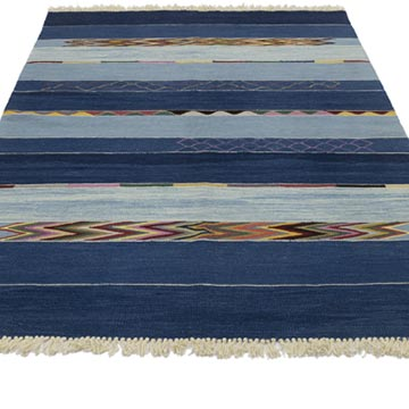 Mavi Yeni Kök Boya El Dokuma Kilim - 124 cm x 190 cm - K0053762