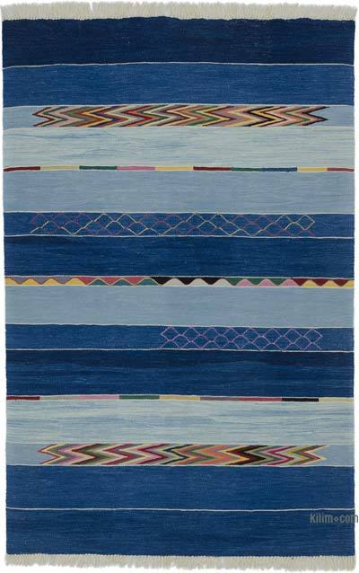 """New Handwoven Turkish Kilim Rug - 4' 1"""" x 6' 3"""" (49 in. x 75 in.)"""