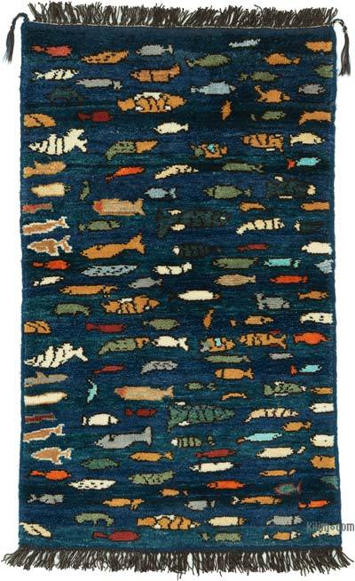 """Blue New Turkish Pile Rug - 2' 7"""" x 4' 4"""" (31 in. x 52 in.)"""
