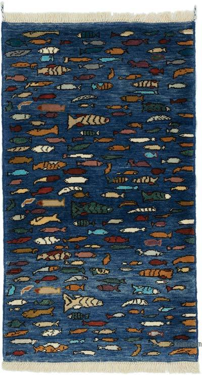 """Blue New Turkish Pile Rug - 2' 11"""" x 5' 2"""" (35 in. x 62 in.)"""