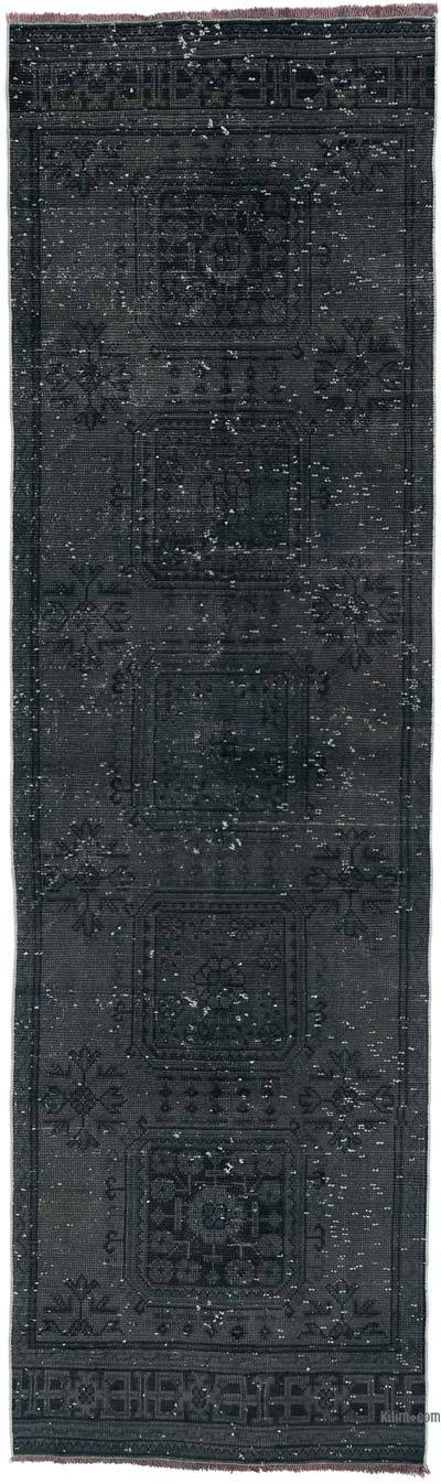 """Grey Over-dyed Turkish Vintage Runner Rug - 3' 3"""" x 10' 10"""" (39 in. x 130 in.)"""