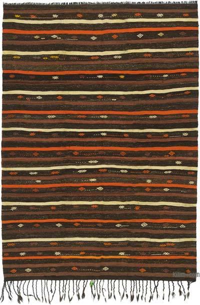 "Brown Vintage Anatolian Kilim Rug - 7' 2"" x 10' 3"" (86 in. x 123 in.)"