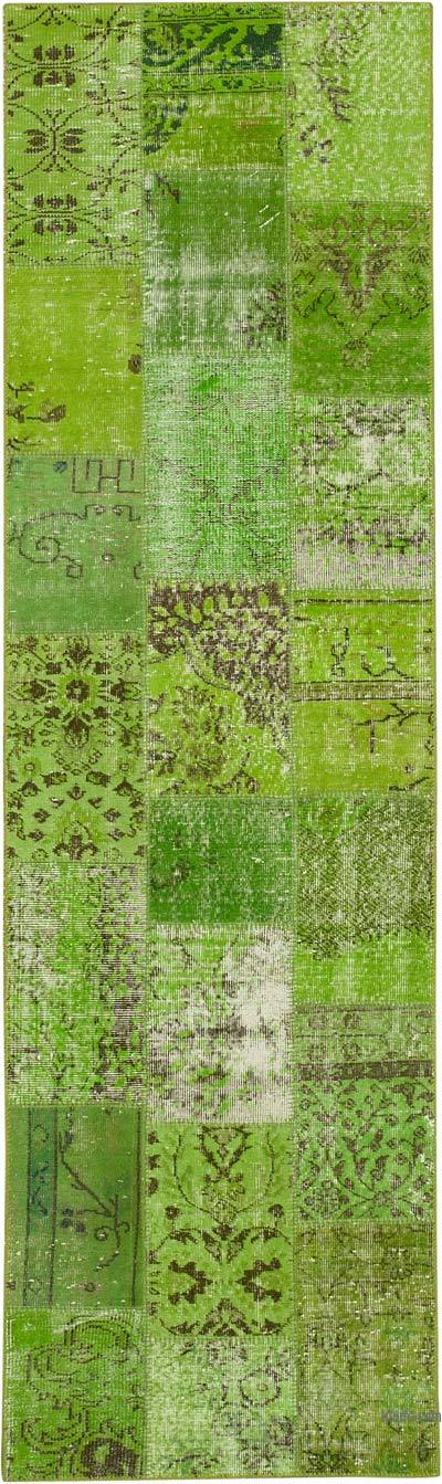 """Green Patchwork Hand-Knotted Turkish Runner - 2' 10"""" x 9' 9"""" (34 in. x 117 in.)"""