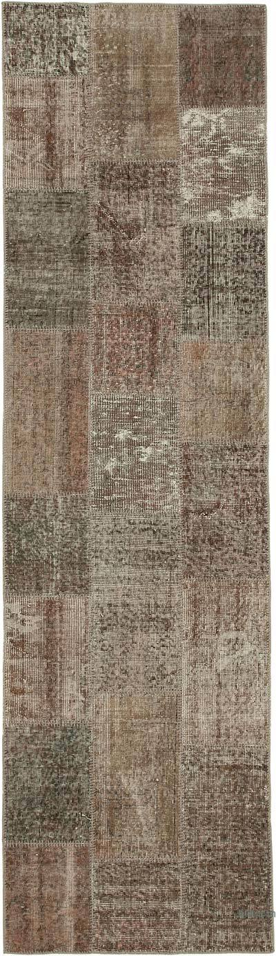 "Brown Patchwork Hand-Knotted Turkish Runner - 2' 10"" x 10'  (34 in. x 120 in.)"