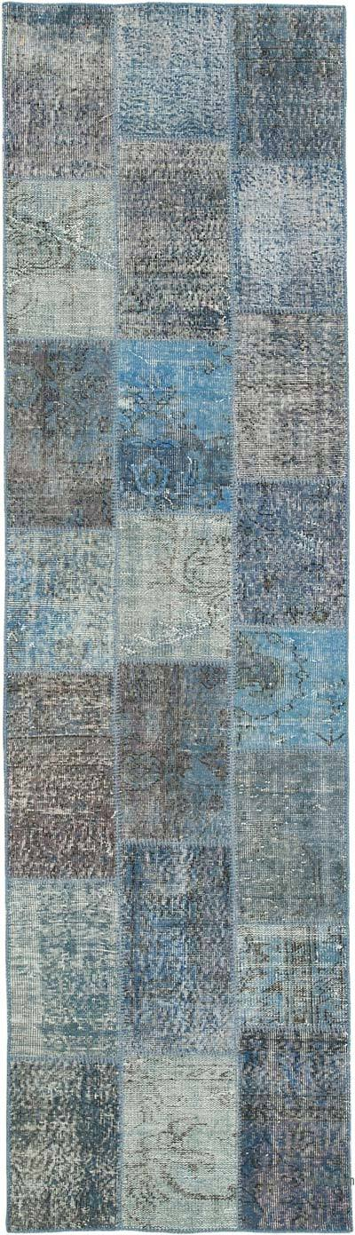 "Blue Patchwork Hand-Knotted Turkish Runner - 2' 9"" x 9' 11"" (33 in. x 119 in.)"