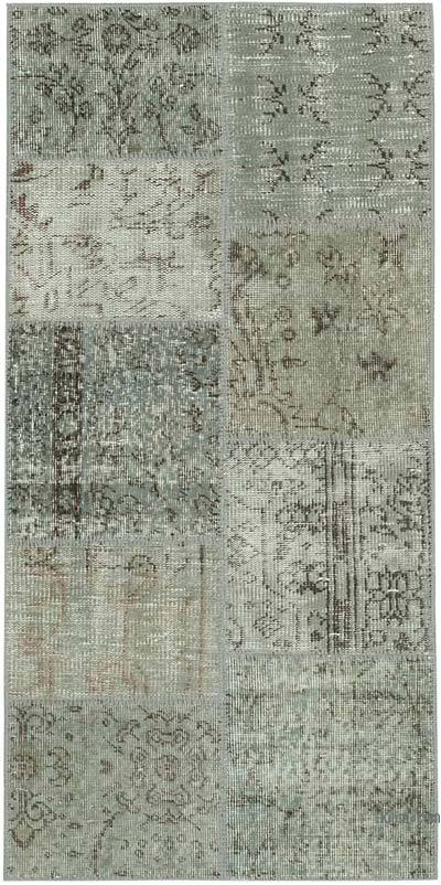 """Grey Patchwork Hand-Knotted Turkish Rug - 2' 5"""" x 4' 11"""" (29 in. x 59 in.)"""