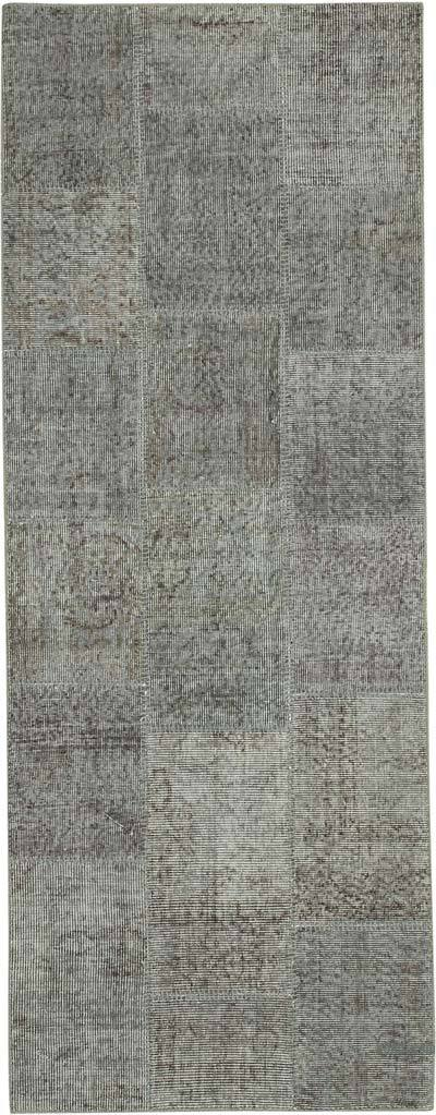 """Grey Patchwork Hand-Knotted Turkish Runner - 2' 9"""" x 7' 5"""" (33 in. x 89 in.)"""