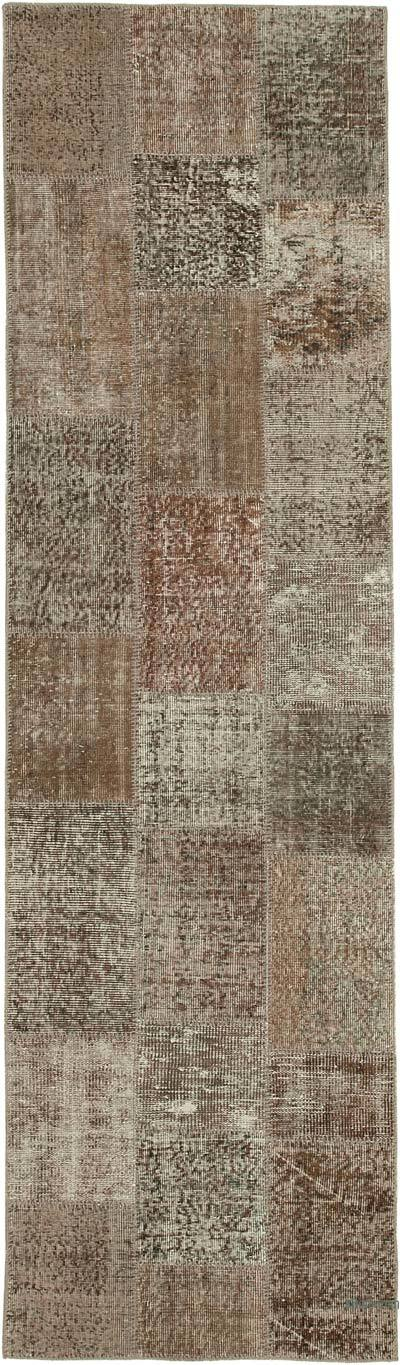 """Brown Patchwork Hand-Knotted Turkish Runner - 2' 10"""" x 9' 11"""" (34 in. x 119 in.)"""