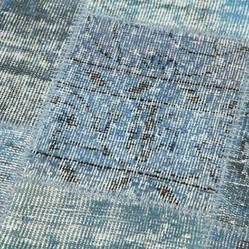 """Blue Patchwork Hand-Knotted Turkish Runner - 2' 9"""" x 9' 9"""" (33 in. x 117 in.) - K0053877"""