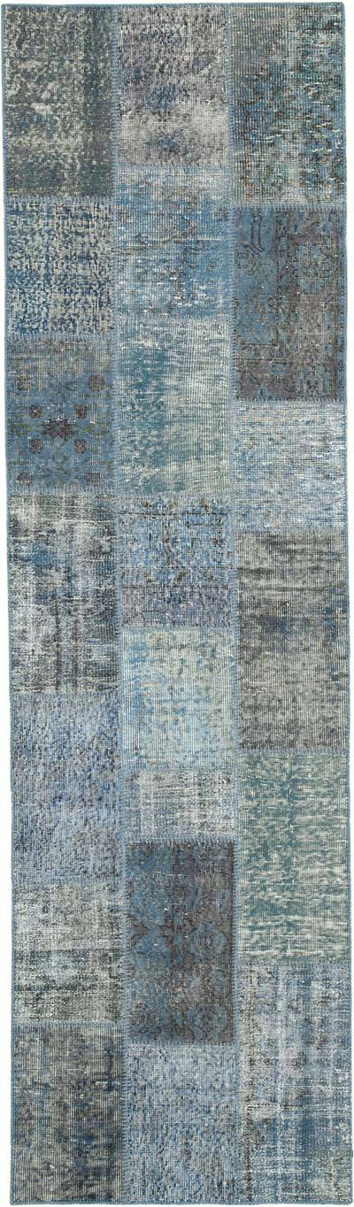 "Blue Patchwork Hand-Knotted Turkish Runner - 2' 9"" x 9' 9"" (33 in. x 117 in.)"