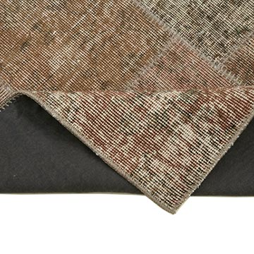 """Brown Patchwork Hand-Knotted Turkish Runner - 2' 10"""" x 10'  (34 in. x 120 in.) - K0053878"""