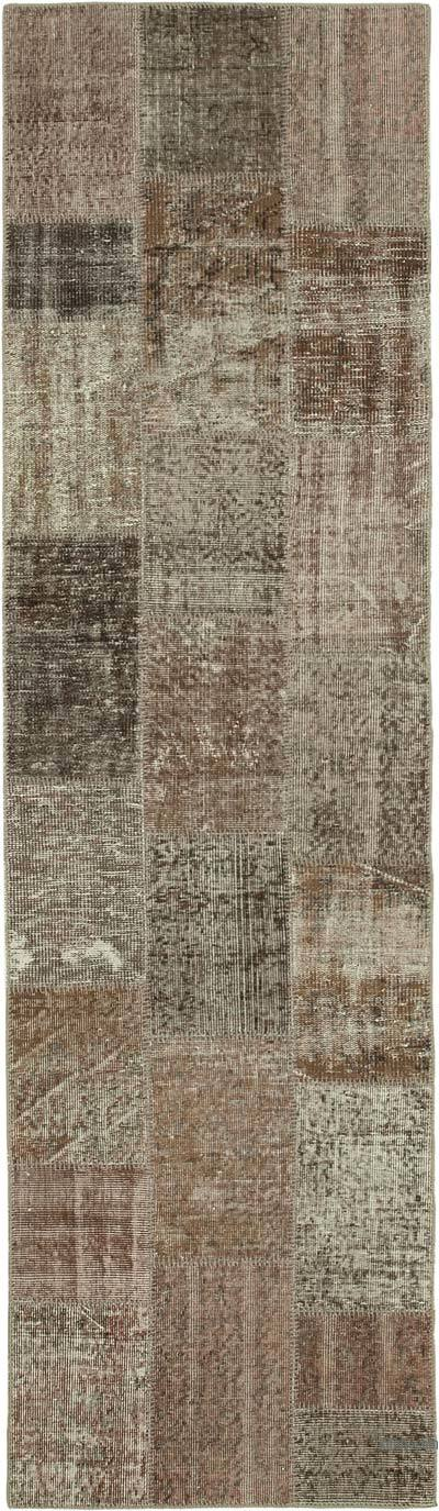 """Brown Patchwork Hand-Knotted Turkish Runner - 2' 10"""" x 10'  (34 in. x 120 in.)"""