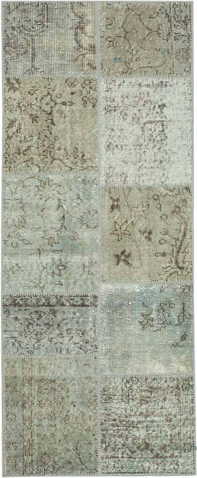 "Grey Patchwork Hand-Knotted Turkish Runner - 2' 5"" x 5' 11"" (29 in. x 71 in.)"